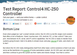 Test Report: Control4 HC-250 Controller: