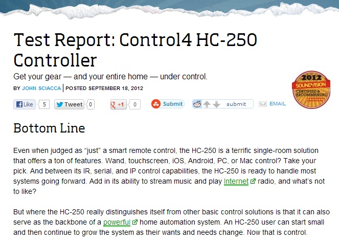 Test Report for the Control4 HC-250 Controller
