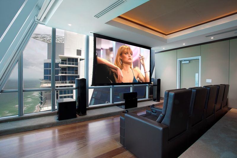 Living the High Life in a Smart Penthouse: audio/video, home theater, penthouse, window shades,